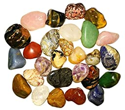 2 Pounds of Rare Natural Tumbled Stones with Identification Sheet - Amethyst, Jasper, Quartz, Agate