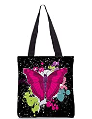Snoogg Beautiful Butterfly On The Black Background Designer Poly Canvas Tote Bag