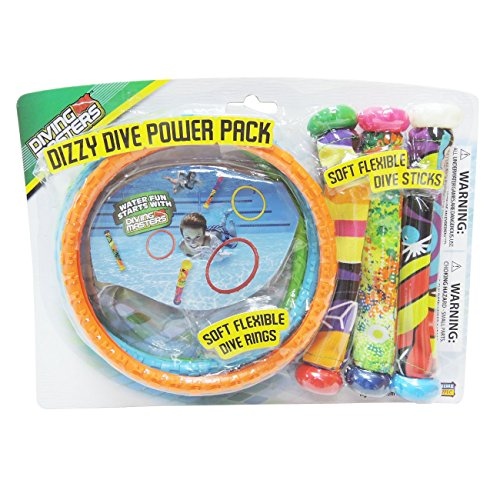 Diving Masters Power Pack Pool Diving Toy (3 - Dizzy Dive Rings / 3 - Fabric Dizzy Dive Tubes) (Colors Vary) - 1