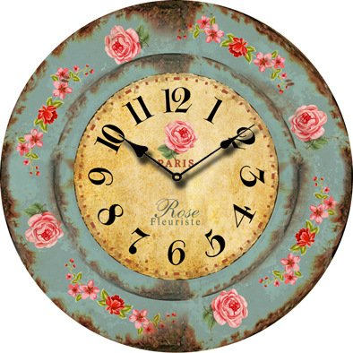 Buggy Round Decorative Wall Clock-Shabby Chic Floral Patchwork Clock ...
