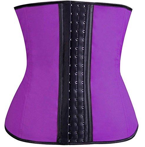 Spring Fever Women's Elasticity Steel Boned Lace Decorate Underbust Waist Diet Corset(M/Waist:26-28inch US Size 6-8, Purple Latex)