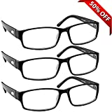 Reading Glasses _ 3 Pack Always Have a Professional Look, Crystal Clear Vision and Sure-Flex Comfort Spring Arms & Dura-Tight Screws _180 Day Guarantee +2.75