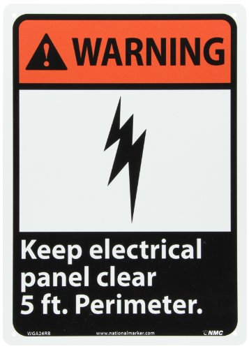 """Nmc Wga26Rb Ansi Sign, Legend """"Warning - Keep Electrical Panel Clear 5 Ft. Perimeter"""" With Graphic, 10"""" Length X 14"""" Height, Rigid Polystyrene Plastic, Orange/Black On White"""