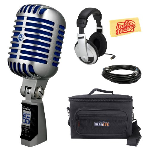 Shure Super 55 Deluxe Vocal Microphone Bundle With Gear Bag, Headphones, Xlr Cable, And Polishing Cloth
