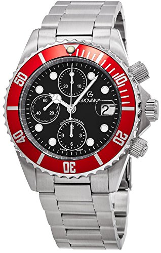 Grovana Diver Men's Black Face 42MM Chronograph Date Stainless Steel Mens Dive Watch 1571.6136 (Dive Master Chrono compare prices)