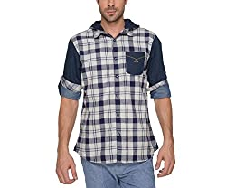 Copperstone Men's Casual Shirt (8903944601703_Blue_Small)