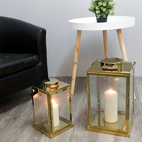 2tlg-Laternen-Set-H40530cm-Metall-Messing-Gold-Optik-mit-Aufhngung-Echtglasfenstern-Laterne-Windlicht-Gartenlaterne-Kerzenhalter-Gartenbeleuchtung-Dekoration