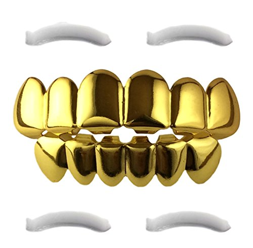 24K Gold Plated Grillz for Mouth Top Bottom Hip Hop Teeth (Kids Shark Bracelet compare prices)