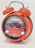 Sports car sound (with LED lights) twin bell quartz alarm clock in Red