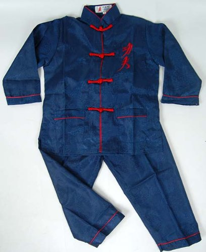 Chinese Kid's Kung Fu Shirt Pants Suit Navy Blue Available Sizes: 6M, 3T, 4, 6, 8, 10, 12, 14