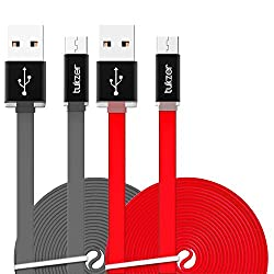 Tukzer 3.2ft / 1mtr Premium [Pack of 2] High Speed USB TYPE-C Sync & Charge Tangle Free, Reversible Design Flat Cable[GREY-RED]