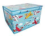 Jumbo Storage Box Room Toy Tidy With Lid Rectangular Jumbo Jets Blue 50 x 30 x 40cm