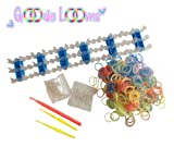 GOODIE LOOMS-Glow in the Dark Rainbow Color Bracelet Making Loom Bands Kit **Only Kit with 1 Large Hook, 2 Mini Hooks, 600 Glow In The Dark Rubber Bands, 48 S-Clips, Adjustable Loom & Extra Brackets- Money Back Guarantee if Not Satisfied