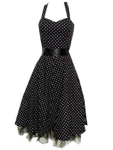 Pretty Kitty Fashion 50s Polka Dot Black Rockabilly Swing Prom Pin-Up Dress