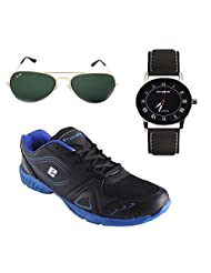 Elligator Stylish Black & Blue Sport Shoes & Watch With Elligator Sunglass For Men's