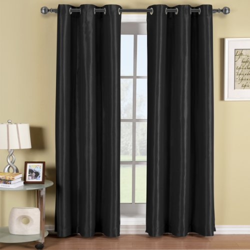 Soho Black Grommet Blackout Window Curtain Drape, Solid Pattern, 42X96 Inches, By Royal Hotel