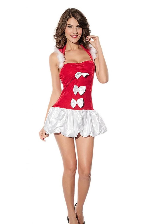 Lukis Damen Falten Kleid Neckholder Kostüm Babydoll Weihnachten
