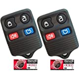 Discount Keyless Pair of Replacement 4 Button Automotive Keyless Entry Remote Control Transmitters with Extra Batteries Compatible with Ford, Lincoln, and Mercury Vehicles