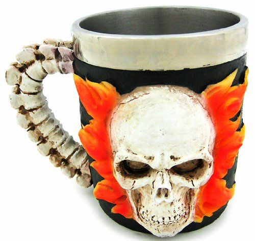 Gothic Flaming Skull Tankard Coffee Mug Cup Creepy