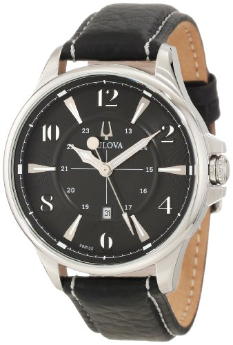 Bulova Men's 96B135 Leather Quartz Watch with Black Dial