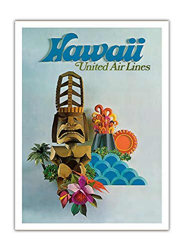 hawaii-united-air-lines-tiki-dieux-hawaiien-airline-affiche-vintage-de-voyage-vintage-airline-travel