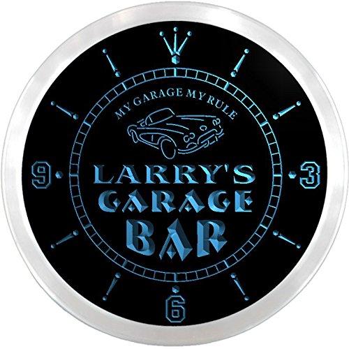 Ncpp0029-B Larry'S Garage Car Repairs Rule Beer Bar Led Neon Sign Wall Clock