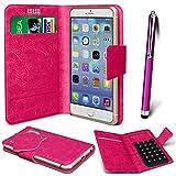 N4U Online® - Orange Sydney PU Leather Suction Pad Wallet Case Cover & High Sensitive Stylus Pen - Hot Pink