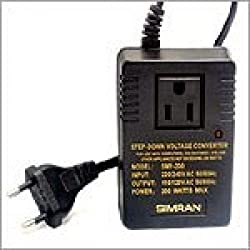 Simran SMF-200 Deluxe 200 Watts Step Down Voltage Converter for International Travel to AC 220V/240V Countries Ideal for Laptops, Cameras, iPhones, Blackberry, iPods etc.