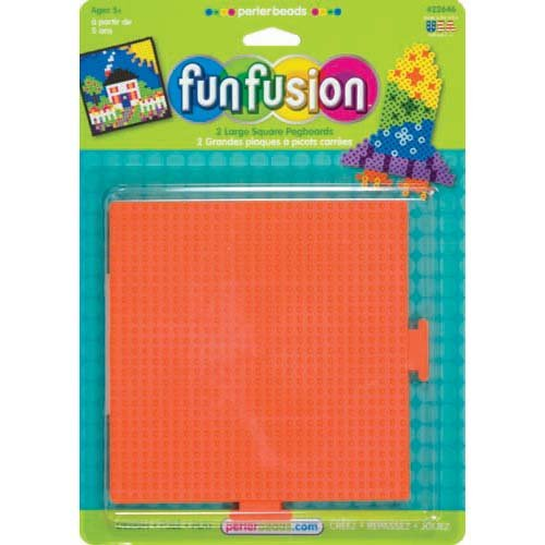 Perler Fun Fusion Bead Pegboards 5-1/2-Inch-by-5-1/2-Inch, 2-Pack, Square