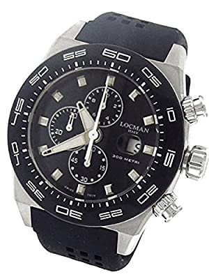 Locman Stealth 300 Meter Quartz Chronograph Watch with 46mm Case 217BKSTBKR