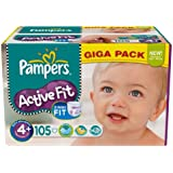 Pampers - 81371198 - Active Fit Couches - Taille 4+ Maxi+ - 9-20 kg - Gigapack x 105 Couches