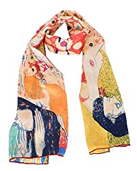 Olina Women's High-Grade Elegant 100% Luxury Long Silk Scarf (Gustav Klimt - Hope II (Green))