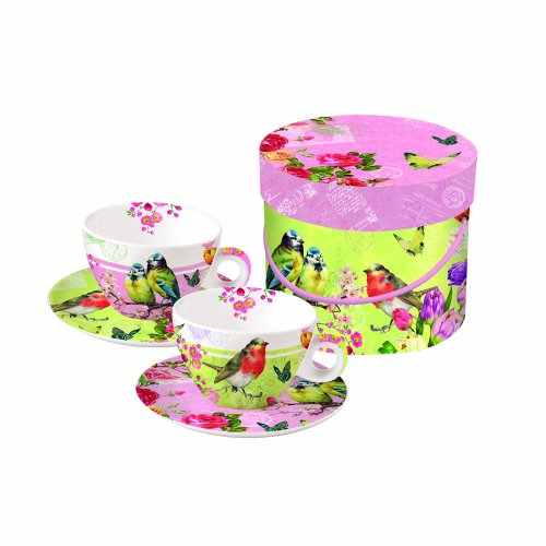 Paperproducts Design Gift Box Cups And Saucers, 11-Ounce, Vintage Robin And Roses, Set Of 2