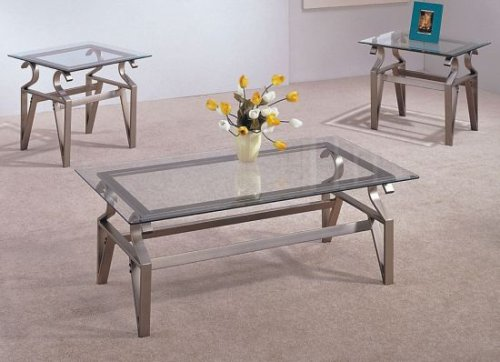3 PIECE BRUSHED CHROME COFFEE TABLE SET - Glass Tops, Coffee Table and 2 End Tables