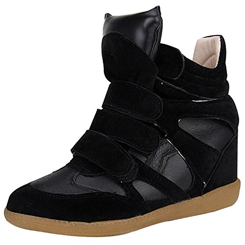 womens-ladies-faux-leather-ankle-high-top-paneled-wedge-trainers-sneakers-shoes-black-euro41-us10-uk