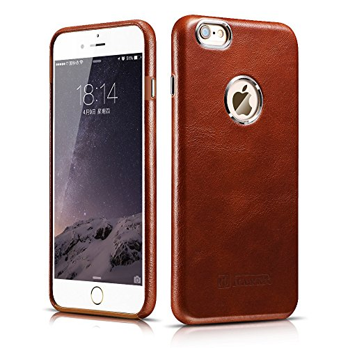 iPhone 6 / 6S Case, Icarercase [Vintage Classic Series] Luxury Premium Genuine Real Leather Case Back Cover with [Ultra Slim] for Apple iPhone 6 / iPhone 6S Case 4.7 Inch (Brown) (Iphone 6 Vintage Case compare prices)
