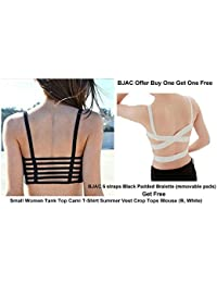BJAC Combo 6 Straps Black Padded + Small Women Tank Top Cami T-Shirt Summer Vest Crop Tops White