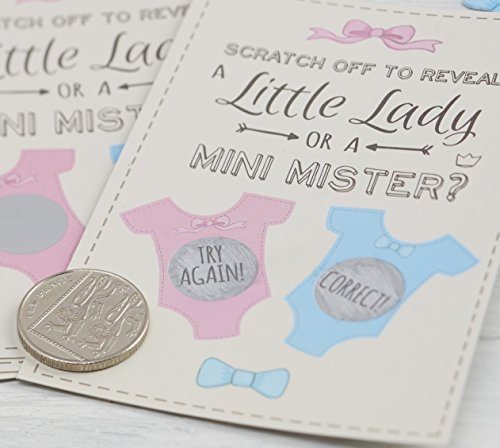 "Ginger Ray ""Little Lady or Mini Mister"" Baby Boy Shower Gender Reveal Scratch Card Game, Mixed - 1"
