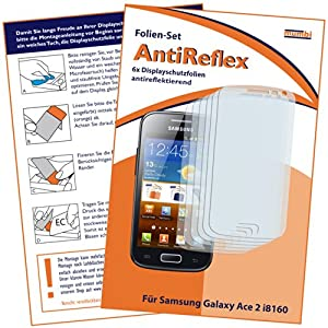 6x mumbi Displayschutzfolie Samsung Galaxy Ace 2 Schutzfolie AntiReflex antireflektierend