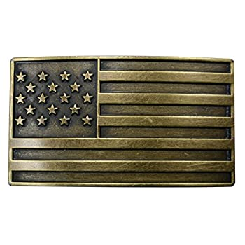 "FL103-50MM Men's Vintage Steampunk Brass USA Flag Plaque Buckle fits 1.5"" belt"