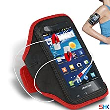 buy Samsung Captivate Glide I927 Red + Earphone Adjustable Armband Sport Gym Bike Cycle Running Jogging Sports Case Cover Holder Pouch (Bb) With Premium Quality In Ear Buds Stereo Hands Free Headphones Headset With Built In Microphone Mic And On-Off By Shukan