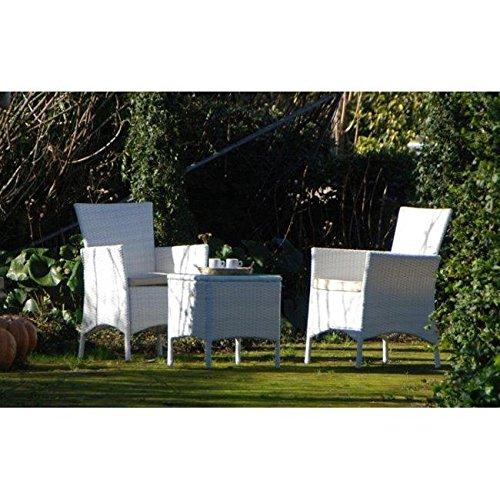 Salottino per arredo giardino con poltroncina e tavolino bianco