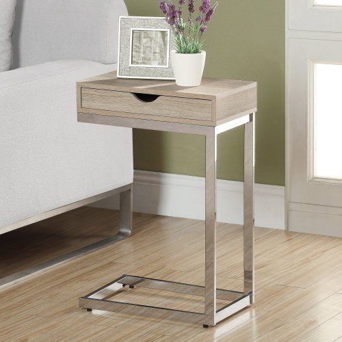 Monarch Reclaimed-Look/Chrome Metal Accent Table, 19.75-Inch, Natural
