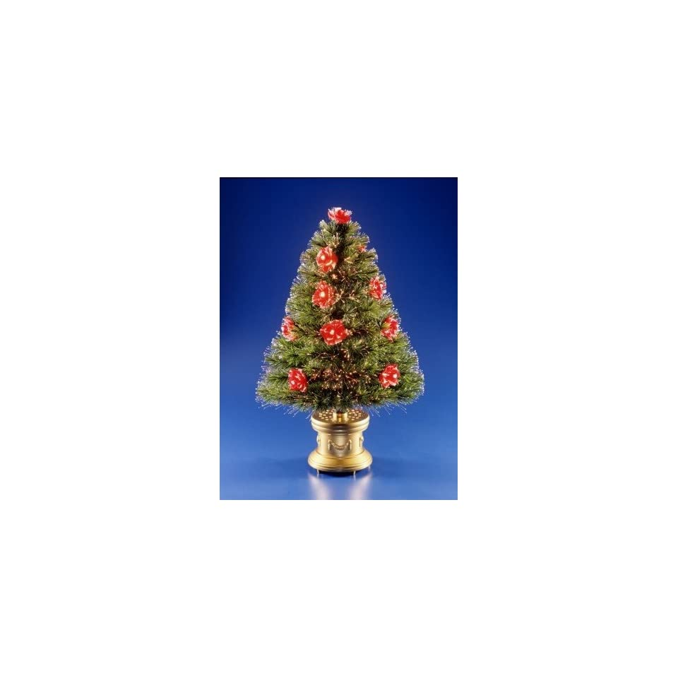 National Tree Company SZRS7 100 36 36 Inch Fiber Optic Red Rose Tree with Gold Column Base   Red/Clear Twinkle Wheel