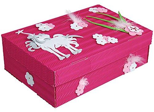 bastelset schulbox kreativbox pferd einhorn m dchen rosa pink schule basteln malbox f r. Black Bedroom Furniture Sets. Home Design Ideas