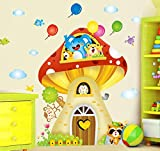 Decals Arts Cartoon Mushroom Animal House Wall Sticker for kids room