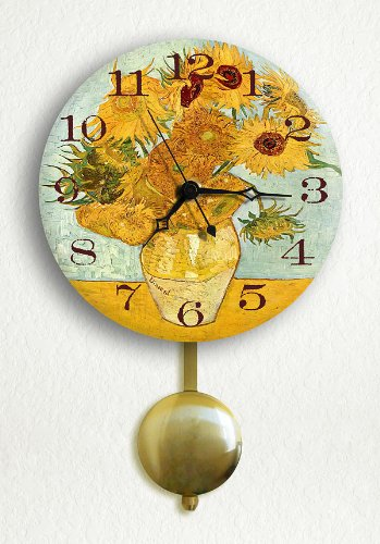 "Vase with 12 Sunflowers by van Gogh 6"" Pendulum Wall Clock"