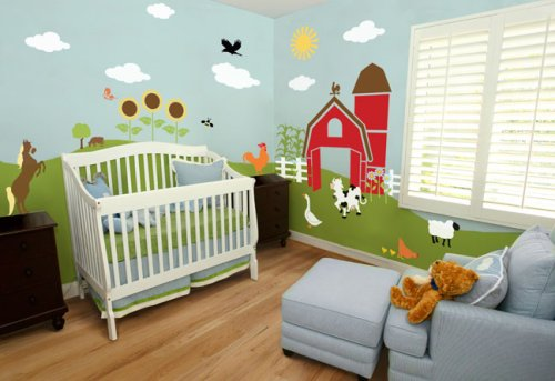 Nursery Wall Mural - Farm Animal Wall Mural Self-adhesive Stencil Kit - Fun Nursery Decor