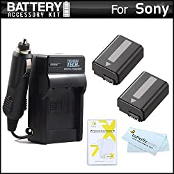 2 Pack Battery And Charger Kit For Sony a7 A55 A33 DSLR SLT A55 SLT A33 NEX-3 NEX-5 NEX-5N NEX-5R NEX-F3 NEX-6 NEX-7 NEX-5T a5000 a6000 Camera Includes 2 Replacement Extended NP-FW50 (1500 mAH) Batteries + Ac/Dc 110/220 Travel Charger + More