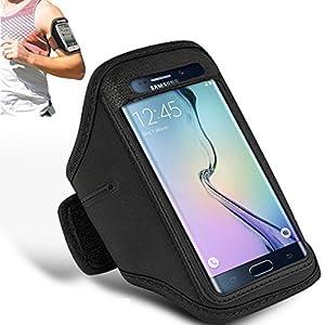 Samsung Galaxy S6 Edge - Brassard réglable Gym Sports de jogging couvercle de boîte Running titulaire chiffon de polissage + ( noir )